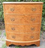 Small Burr Walnut Bowfront Chest of Drawers